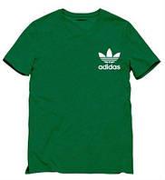 Брендовая футболка Adidas, адидас, мужская, зеленая, трикотаж, летняя ф1892