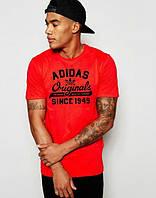 Брендовая футболка Adidas, адидас, мужская, красная, трикотаж, летняя ф1893