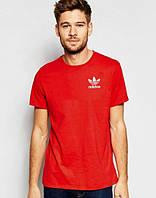Брендовая футболка Adidas, адидас, мужская, красная, мелкое лого, спортивная, летняя ф1894