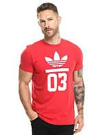 Брендовая футболка Adidas, адидас, мужская, красная, трикотаж, спортивная, ф1898