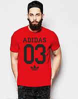 Брендовая футболка Adidas, адидас, мужская, летняя, красная, трикотаж, спортивная, ф1908