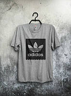Брендовая футболка Adidas, адидас, мужская, серая, качественная, трикотаж, спортивная, ф1917