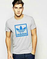 Брендовая футболка Adidas, адидас, мужская, серая, ХБ, летняя, молодежная, спортивная, ф1920