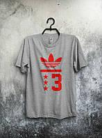 Брендовая футболка Adidas, адидас, мужская, серая, летняя, молодежная, ф1922