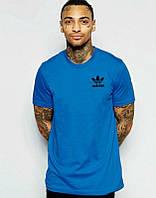 Брендовая футболка Adidas, адидас, синяя, мужская, трикотаж, мелкое лого, летняя, ф1931