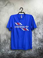 Брендовая футболка Adidas, адидас, синяя, мужская, летняя, трикотаж, молодежная, ф1940