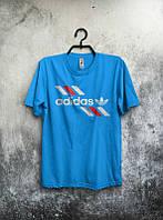 Брендовая футболка Adidas, адидас, синяя, мужская, хлопок, летняя, молодежная, ф1941