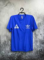 Брендовая футболка Adidas, адидас, синяя, мужская, летняя, качественная, трикотаж, молодежная, ф1943