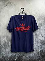 Брендовая футболка Adidas, адидас, черная, красное лого, в наличии, мужская, хб, стильная, ф1956