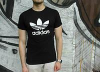Брендовая футболка Adidas, адидас, черная, белое лого, в наличии, мужская, хб, стильная, ф1960