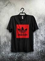 Брендовая футболка Adidas, адидас, черная, мужская, хб, красное лого, летняя, стильная, ф1974