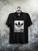 Брендовая футболка Adidas, адидас, черная, мужская, хб, летняя, белое лого,стильная, ф1975