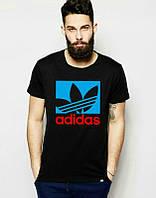 Брендовая футболка Adidas, адидас, черная, мужская, хб, унисекс, летняя, стильная, ф1978