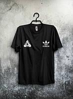 Брендовая футболка Adidas, адидас, черная, мужская, качественная, хб, летняя, стильная, ф1979