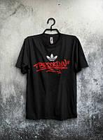 Брендовая футболка Adidas, адидас, черная, мужская, хб, приятная, летняя, стильная, ф1980