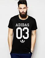 Брендовая футболка Adidas, адидас 03, черная, мужская, хб, летняя, белое лого, стильная, ф1982