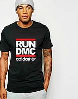 Брендовая футболка Adidas, адидас, черная, мужская, хб, большое лого, летняя, стильная, ф1983