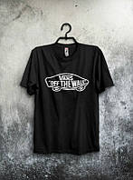 Брендовая футболка VANS, ванс, черная, летняя, мужская, стильная, хб, ф2002