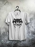 Брендовая футболка VENUM, венум, белая, летняя, мужская, качественная, стильная, хб, ф2004