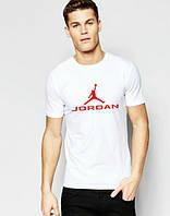 Брендовая футболка JORDAN, джордан, белая, летняя, мужская, трикотаж, стильная, ф2027