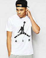 Брендовая футболка JORDAN, джордан, белая, летняя, мужская, трикотаж, стильная, ф2033