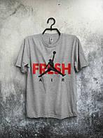 Брендовая футболка JORDAN, джордан, серая, летняя, мужская, трикотаж, ф2050
