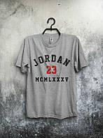 Брендовая футболка JORDAN, джордан, серая, летняя, мужская, в наличии, трикотаж, ф2051