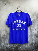 Брендовая футболка JORDAN, джордан, синяя, летняя, мужская, хлопок, стильная, в ассортименте ,ф2067