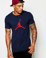 Брендовая футболка JORDAN, джордан, темно-синяя, летняя, мужская, хлопок, стильная, ф2072