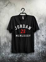 Брендовая футболка JORDAN, повседневная футболка джордан, все размеры, мужская, чёрная, ф2084