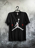 Брендовая футболка JORDAN, повседневная футболка джордан, отличного качества, мужская, чёрная, ф2086