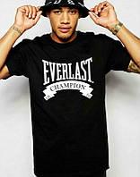 Брендовая футболка EVERLAST, брендовая футболка еверласт, черная, большое лого, ф2091