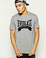 Брендовая футболка EVERLAST, брендовая футболка еверласт, серая, большое лого, ф2089