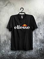 Брендовая футболка ELLESSE, брендовая футболка елсе, черная,трикотаж , ф2100