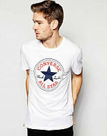 Брендовая футболка CONVERSE, брендовая футболка конверс, белая , хлопок, ф2103