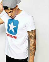 Брендовая футболка CONVERSE, брендовая футболка конверс, большое лого, белая , хлопок, ф2104