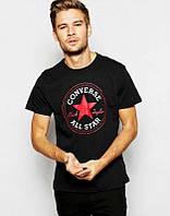 Брендовая футболка CONVERSE, брендовая футболка конверс, черная , хлопок, ф2105