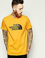 Брендовая футболка The North Face, футболка норт фейс, желтая, хлопок, ф2129