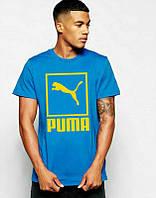 Брендовая футболка Puma, футболка пума, синяя, желтое лого, хлопок, мужская, ф2180