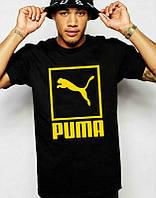 Брендовая футболка Puma, футболка пума, черная, желтое лого, хлопок, мужская, ф2192