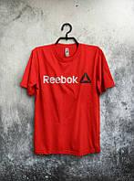 Брендовая футболка Reebok, брендовая футболка рибок, красная, трикотаж, ф2227