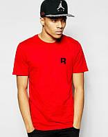 Брендовая футболка Reebok, брендовая футболка рибок, красная, мелкое лого, трикотаж, ф2228
