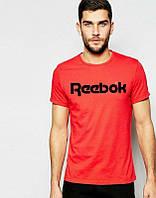 Брендовая футболка Reebok, брендовая футболка рибок, красная, трикотаж, черное лого, ф2229