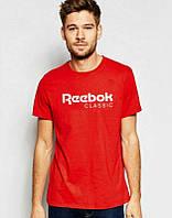 Брендовая футболка Reebok, брендовая футболка рибок, красная, трикотаж, белое лого, ф2230