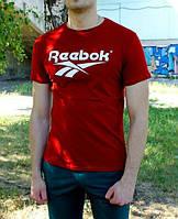 Брендовая футболка Reebok, стильная футболка рибок, красная, трикотаж, ф2232