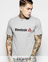 Брендовая футболка Reebok, брендовая футболка рибок, мужская, трикотаж, серая, ф2239