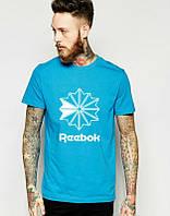 Брендовая футболка Reebok, рибок, синяя, в ассортименте, мужская, спортивная, хлопок, ф2279