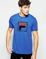 Брендовая футболка Fila, фила, синяя, летняя, лого на груди, спортивная, ф2327