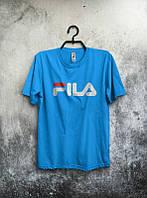 Брендовая футболка Fila, фила, синяя, летняя, спортивная, мужская , в наличии, ф2329