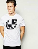 Брендовая футболка Fred Perry, футболка фред пери, белая, мужская, летняя, спортивная, хлопок, ф2337